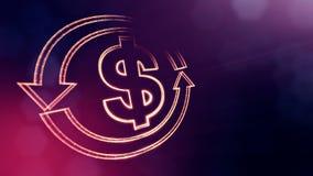 美元的符号圆的箭头象征  光亮微粒财务背景  3D与深度的无缝的动画  皇族释放例证