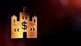 美元的符号城堡象征  光亮微粒财务背景  3D与景深的圈动画, bokeh 股票视频