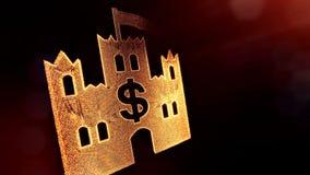 美元的符号城堡象征  光亮微粒财务背景  3D与景深的圈动画, bokeh 向量例证