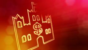 美元的符号城堡象征  光亮微粒财务背景  3D与景深的无缝的动画 皇族释放例证