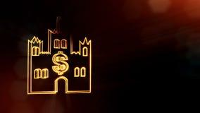 美元的符号城堡象征  光亮微粒财务背景  3D与景深的无缝的动画 影视素材