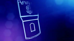 美元的符号塔的象征 光亮微粒财务背景  3D与景深的圈动画, bokeh 库存例证
