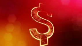 美元的符号或美元象 光亮微粒财务背景  3D与景深的圈动画, bokeh和 库存例证