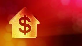 美元的符号房子的象征 光亮微粒财务背景  3D与景深的圈动画, bokeh 皇族释放例证