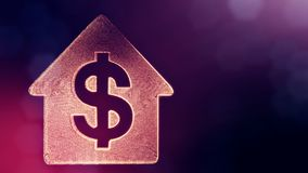 美元的符号房子的象征 光亮微粒财务背景  3D与景深的圈动画, bokeh 向量例证
