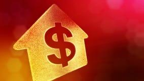 美元的符号房子的象征 光亮微粒财务背景  3D与景深的圈动画, bokeh 股票录像