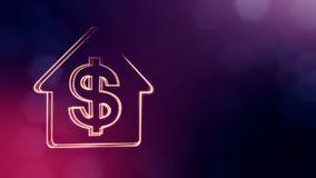 美元的符号房子的象征 光亮微粒财务背景  3D与景深的无缝的动画 库存例证