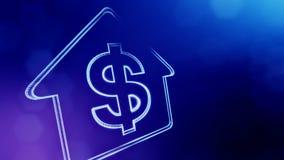 美元的符号房子的象征 光亮微粒财务背景  3D与景深的无缝的动画 向量例证
