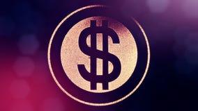 美元的符号敲响 光亮微粒财务背景  3D与景深的圈动画、bokeh和拷贝 库存例证