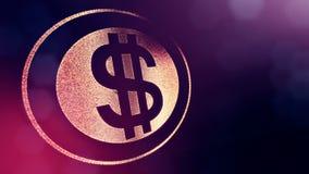 美元的符号敲响 光亮微粒财务背景  3D与景深的圈动画、bokeh和拷贝 向量例证