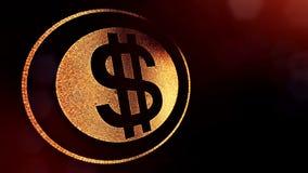 美元的符号敲响 光亮微粒财务背景  3D与景深的圈动画、bokeh和拷贝 股票视频