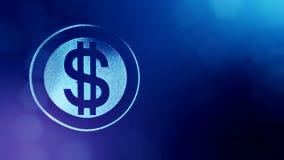 美元的符号敲响 光亮微粒财务背景  3D与景深的圈动画、bokeh和拷贝 股票录像