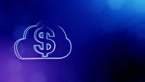 美元的符号显示器象征  光亮微粒财务背景  3D与景深的圈动画, bokeh 库存例证