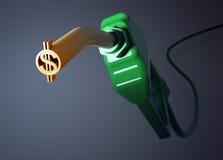美元的符号燃料喷嘴 免版税库存图片