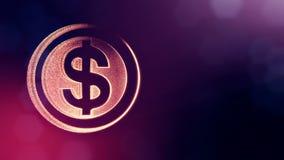 美元的符号盘旋 光亮微粒财务背景  3D与景深的圈动画、bokeh和拷贝 皇族释放例证