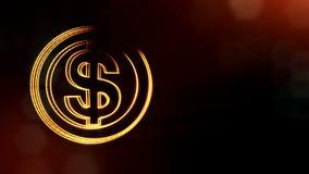 美元的符号盘旋 光亮微粒财务背景  3D与景深的圈动画、bokeh和拷贝 股票视频