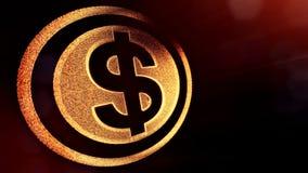 美元的符号盘旋 光亮微粒财务背景  3D与景深的圈动画、bokeh和拷贝 向量例证