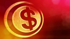 美元的符号盘旋 光亮微粒财务背景  3D与景深的圈动画、bokeh和拷贝 库存例证