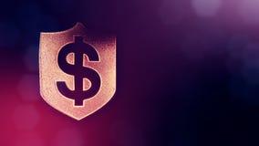 美元的符号盾象征  光亮微粒财务背景  3D与景深的圈动画, bokeh 向量例证