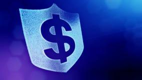 美元的符号盾象征  光亮微粒财务背景  3D与景深的圈动画, bokeh 影视素材