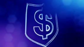 美元的符号盾象征  光亮微粒财务背景  3D与景深的无缝的动画 皇族释放例证