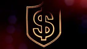 美元的符号盾象征  光亮微粒财务背景  3D与景深的无缝的动画 库存例证