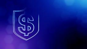 美元的符号盾象征  光亮微粒财务背景  3D与景深的无缝的动画 股票录像