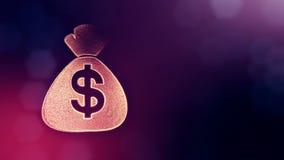 美元的符号袋子象征  光亮微粒财务背景  3D与景深的圈动画, bokeh和 库存例证