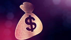 美元的符号袋子象征  光亮微粒财务背景  3D与景深的圈动画, bokeh和 股票视频