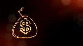 美元的符号袋子象征  光亮微粒财务背景  3D与景深的无缝的动画, bokeh 库存例证