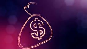 美元的符号袋子象征  光亮微粒财务背景  3D与景深的无缝的动画, bokeh 向量例证