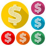 美元的符号象 USD货币符号,与长的阴影的颜色象 免版税库存照片