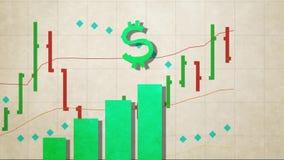 美元的符号跃迁在股市图禁止动态阿尔法通道版本新的质量独特的保险开关动画片的动画 向量例证
