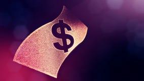 美元的符号钞票象征  光亮微粒财务背景  3D与景深的圈动画 库存例证