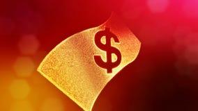 美元的符号钞票象征  光亮微粒财务背景  3D与景深的圈动画 皇族释放例证