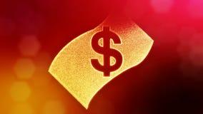 美元的符号钞票象征  光亮微粒财务背景  3D与景深的圈动画 向量例证