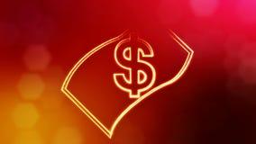 美元的符号钞票象征  光亮微粒财务背景  3D与景深的无缝的动画 库存例证
