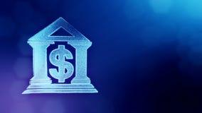 美元的符号银行的象征 光亮微粒财务背景  3D与景深的圈动画, bokeh 皇族释放例证