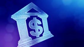美元的符号银行的象征 光亮微粒财务背景  3D与景深的圈动画, bokeh 向量例证