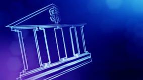 美元的符号银行象征  光亮微粒财务背景  3D与景深的seamleass动画 皇族释放例证