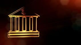 美元的符号银行象征  光亮微粒财务背景  3D与景深的seamleass动画 股票视频