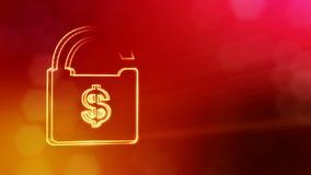 美元的符号锁的象征 光亮微粒财务背景  3D与景深的圈动画, bokeh 向量例证
