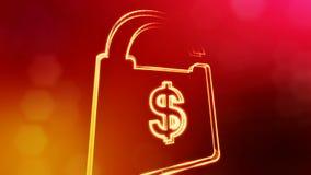 美元的符号锁的象征 光亮微粒财务背景  3D与景深的圈动画, bokeh 股票录像