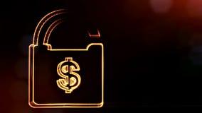 美元的符号锁的象征 光亮微粒财务背景  3D与景深的圈动画, bokeh 皇族释放例证