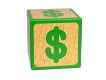 美元的符号-儿童的字母表块。 库存图片