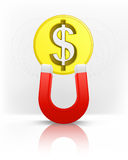 美元硬币吸引与磁铁磁场传染媒介 免版税库存图片