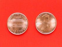 美元硬币- 1分 库存图片