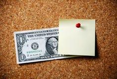 美元稠粘的笔记 库存图片