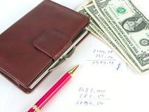 美元笔记本写作我们 免版税库存图片
