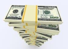 从美元美国的大金钱堆 计算器概念财务货币 免版税库存照片